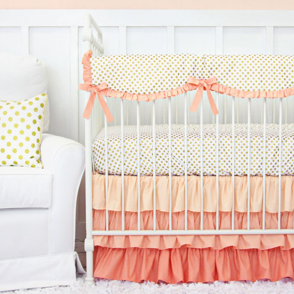 Beautiful crib rail covers protect baby's teeth while offering an attractive alternative to dangerous crib bumpers.