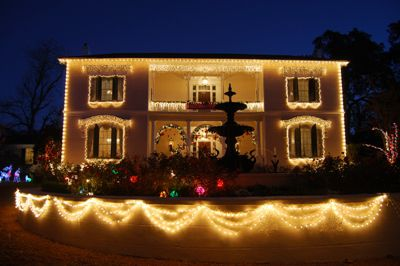 The Towers in Natchez Decorated for the Holidays; Photo Credit: Natchez Convention and Visitors Bure