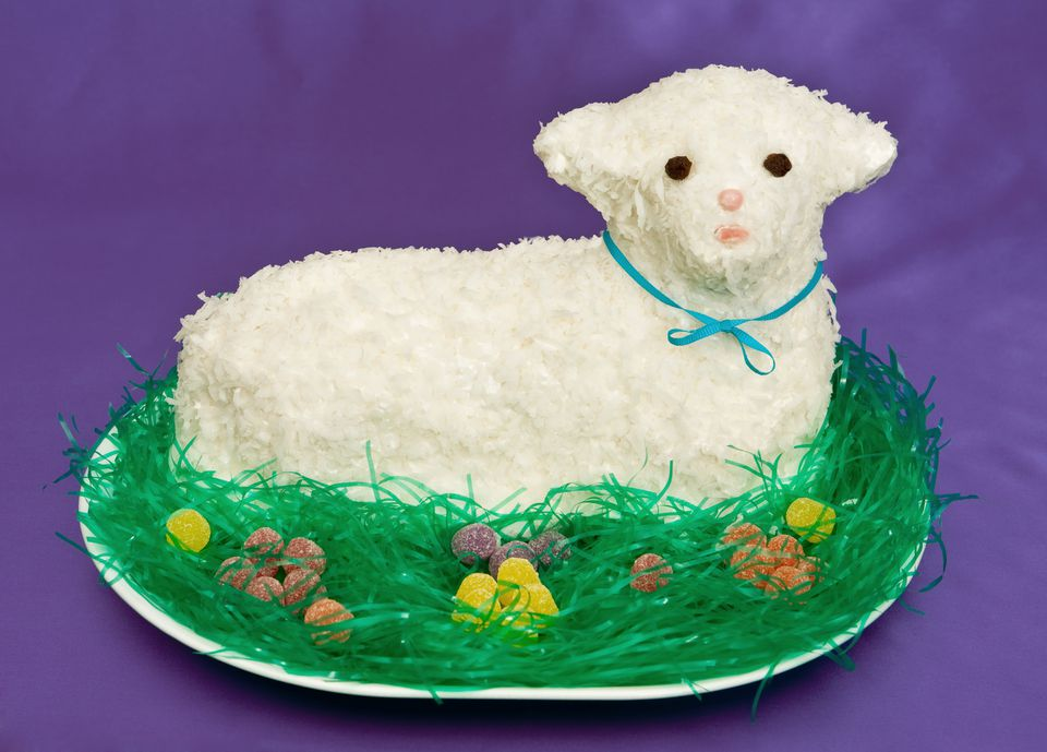 A closeup of an Easter lamb cake