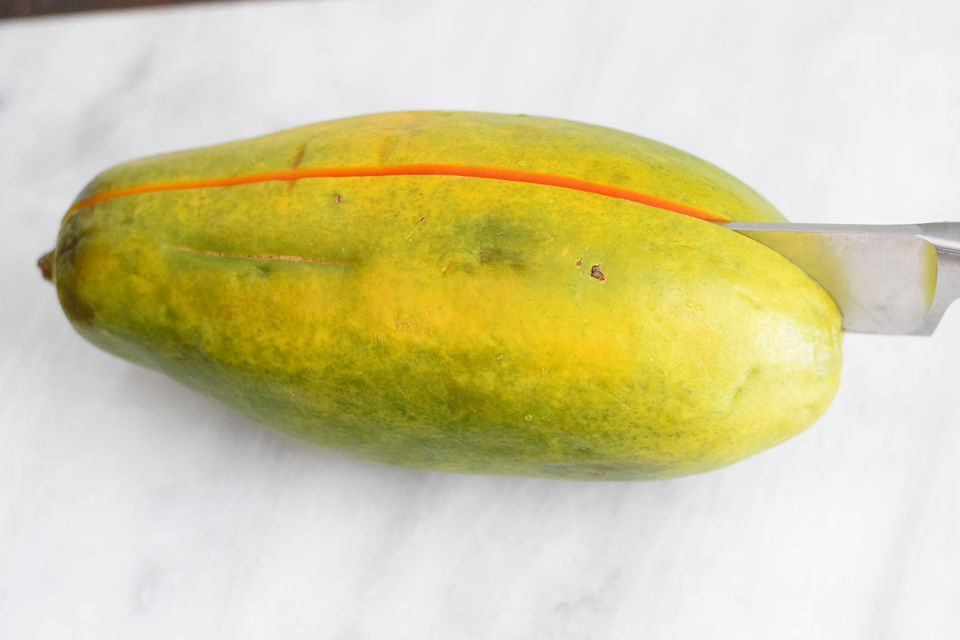 How to cut and eat a papaya how to cut papaya in half ccuart Choice Image