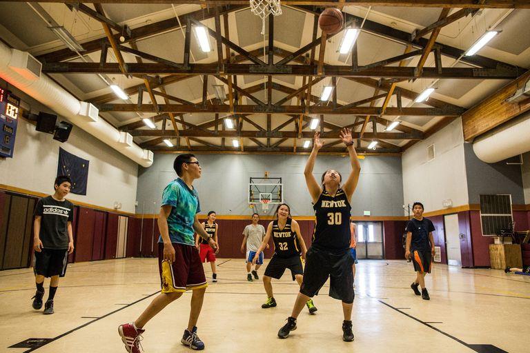 High school basketball players.