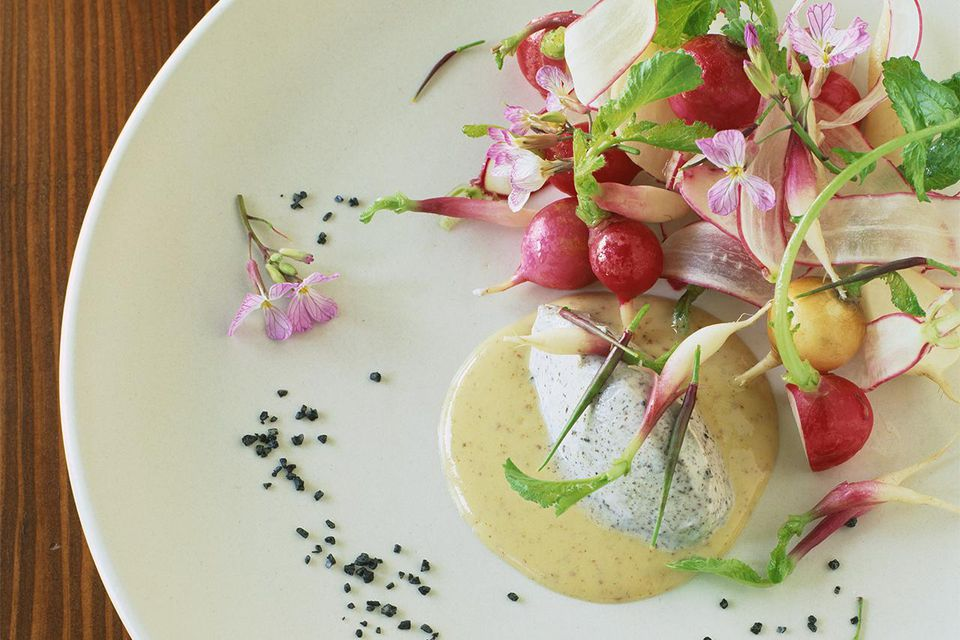 Radish salad with chevre and vinaigrette