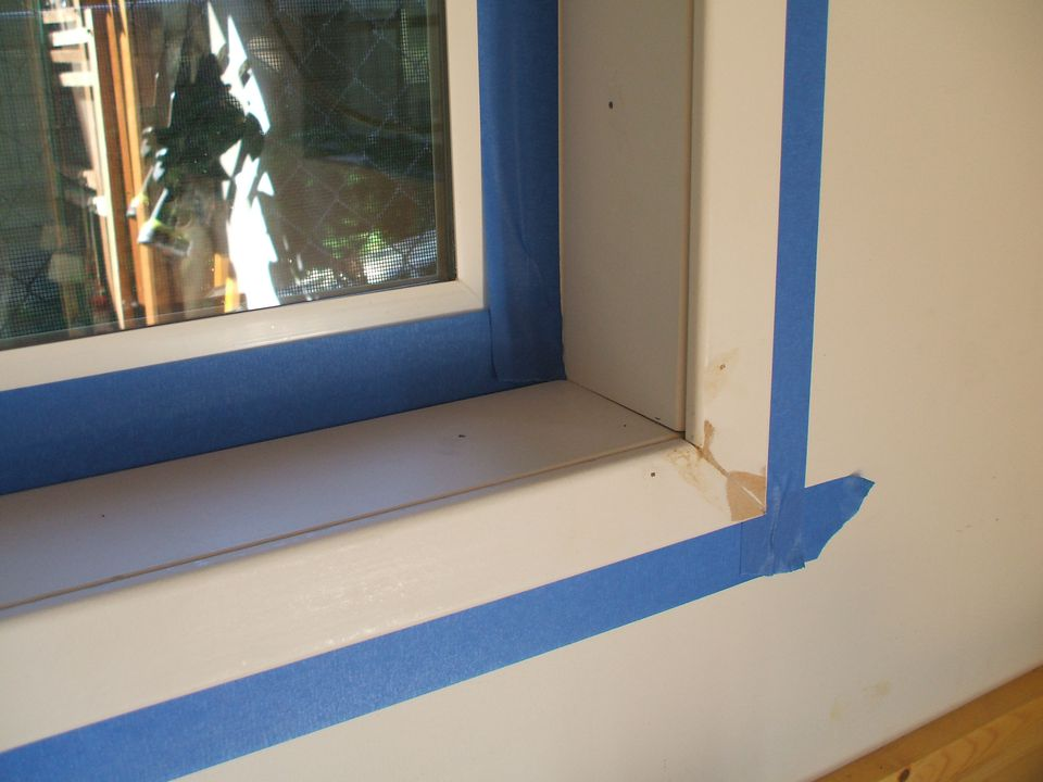 Painter S Tape On Interior Trim Before Painting