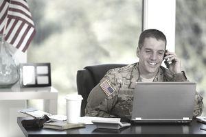 Veteran soldier in his office
