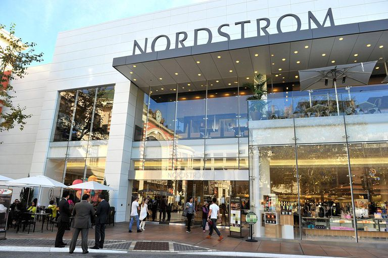 View of busy Nordstrom store from outside