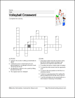 Volleyball Crossword Puzzle Answers
