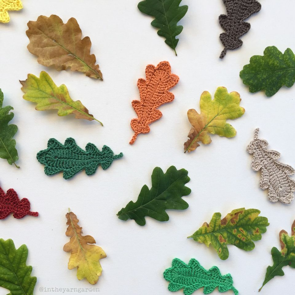 20 free crochet leaf patterns for every season oak leaves free crochet pattern bankloansurffo Image collections