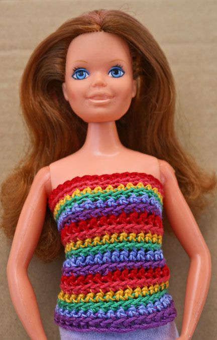 10 fun free crochet barbie doll patterns free rainbow top crochet pattern for 115 inch fashion dolls dt1010fo