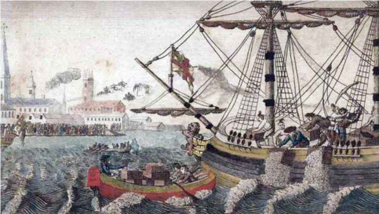 Colonists at the Boston Tea Party