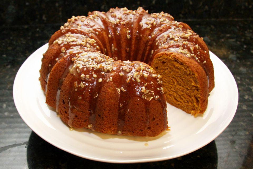 Pumpkin Pound Cake With Maple Pecan Glaze