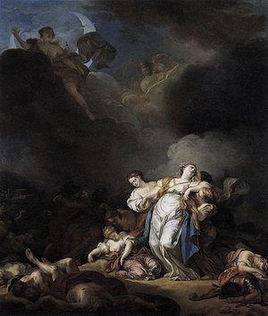 Les Enfants de Niobe tués par Apollon et Diane, by Anicet Charles Gabriel Lemonnier 1772.