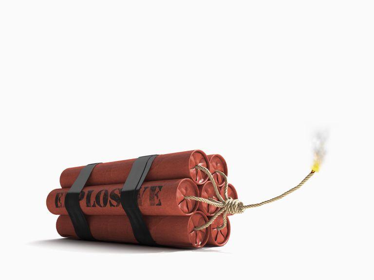 Dynamite stick representing a volatile stock market?