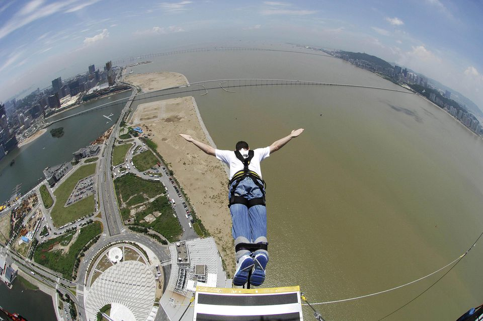 Bungee jumping off the Macau Tower