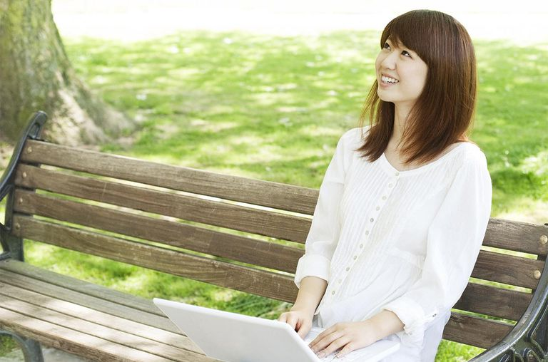 Woman Using Laptop At Park