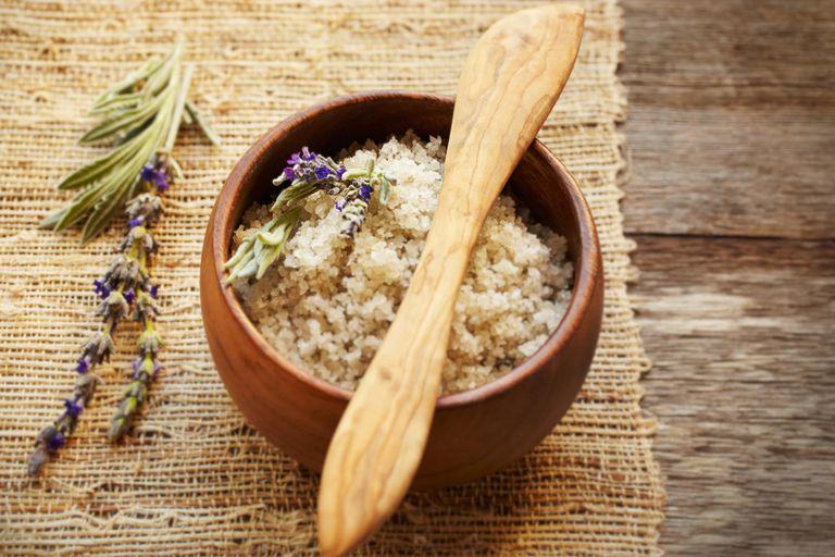 Spa still life sea salt and lavender on wood table