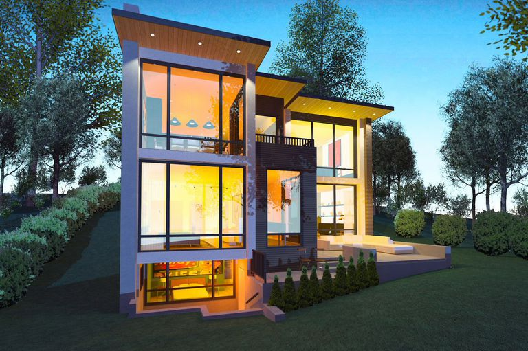Chief Architect rendering of modern house called Hillside Contemporary, flat roof overhang, glass walls on two stories and basement