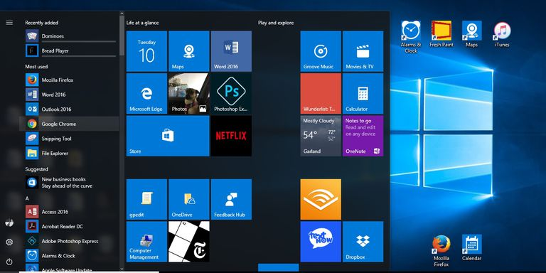 Figure 1-1: A screen shot of a Windows 10 Start menu and Desktop with various apps and software icons showing.