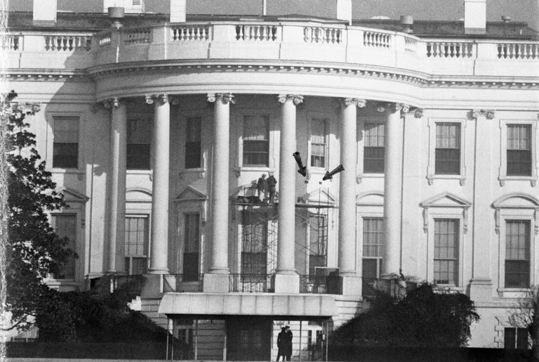 Construction of the Truman Balcony Within the South Portico  1948. About The White House in Washington DC
