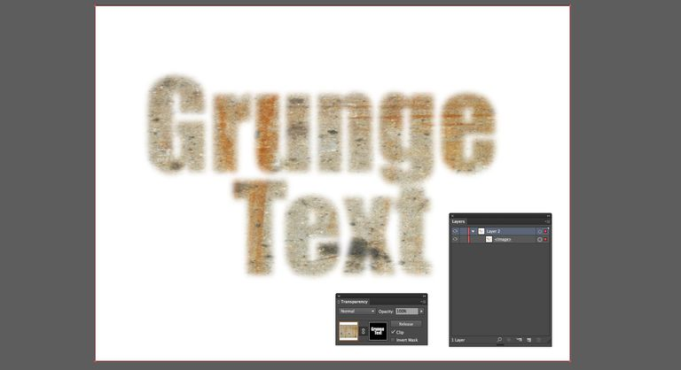 The words Grunge Text are blurred and masking the cement image in the backgroud. The Transparency and Layers panle are shown as well.