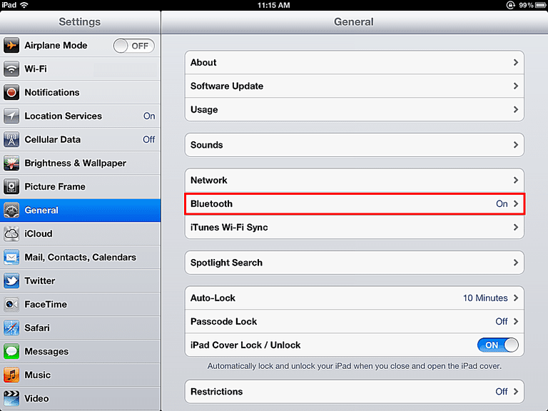 iPad Bluetooth Settings