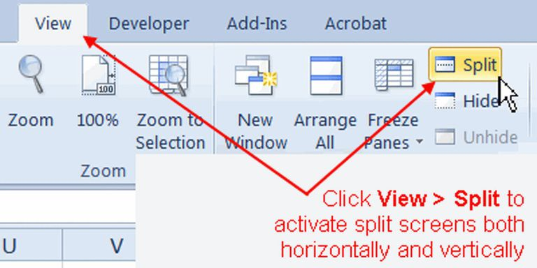 View Multiple Copies of a Worksheet with Split Screens in Excel
