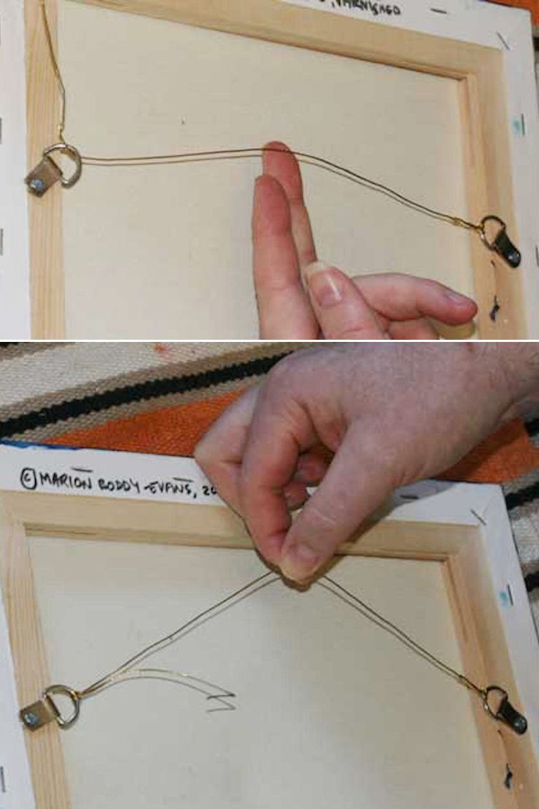 How to hang a painting with wire and d rings give the picture wire a little slack before tying the knot and wrapping the end jeuxipadfo Images