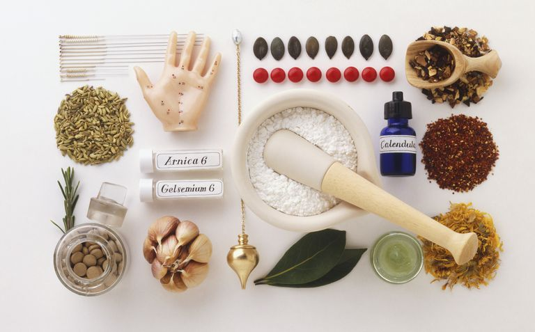 Large selection of drugs and natural remedies used in complementary medicine, view from above