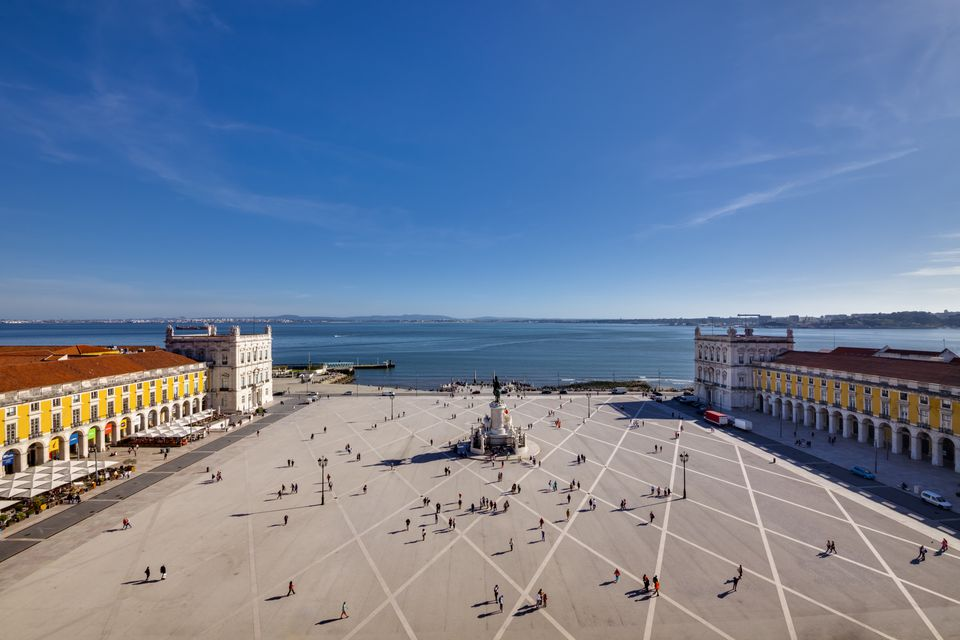 Praca do Comercio (Commerce Square) with Tejo (Tagus) river in the background - Baixa Pombalina district, Lisbon, Portugal