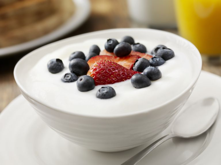 Fruit In A Bowl Of Yogurt