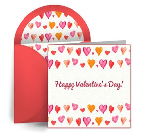 A Valentine's Day ecard with hearts.