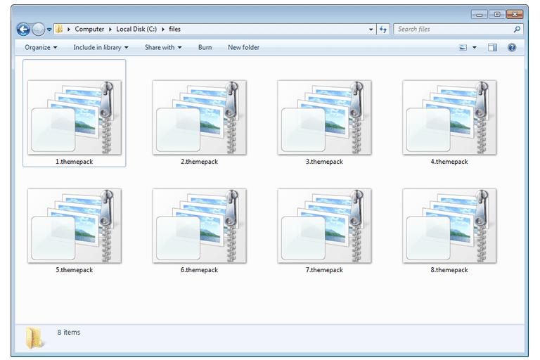 Screenshot of several .themepack files in Windows 7