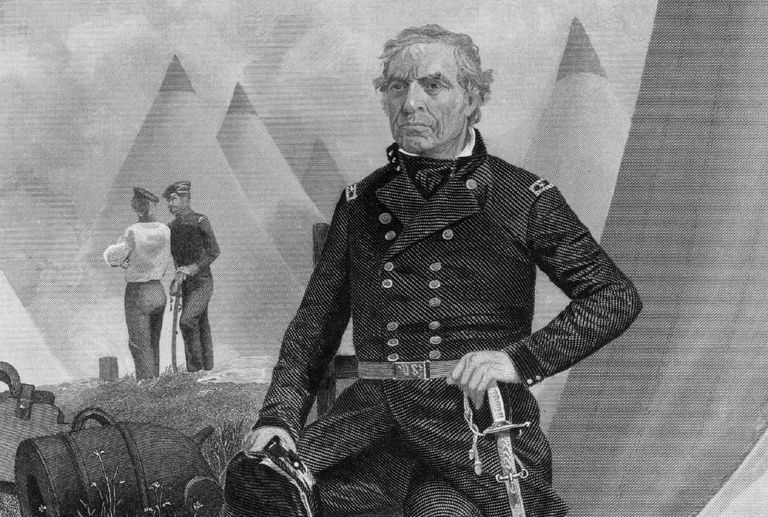 Engraved portrait of Zachary Taylor in military uniform.