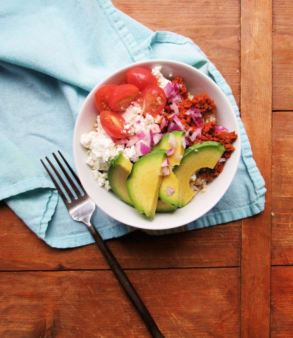 Chorizo Avocado Rice Bowl