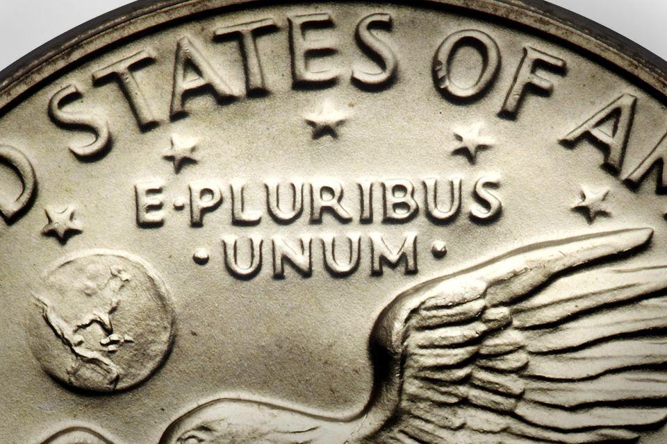 E Pluribus Unum on an Eisenhower Silver Dollar
