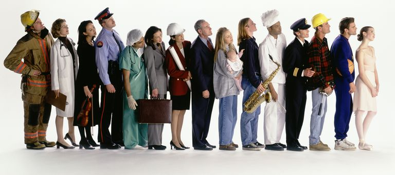 Group of people in row with different occupations