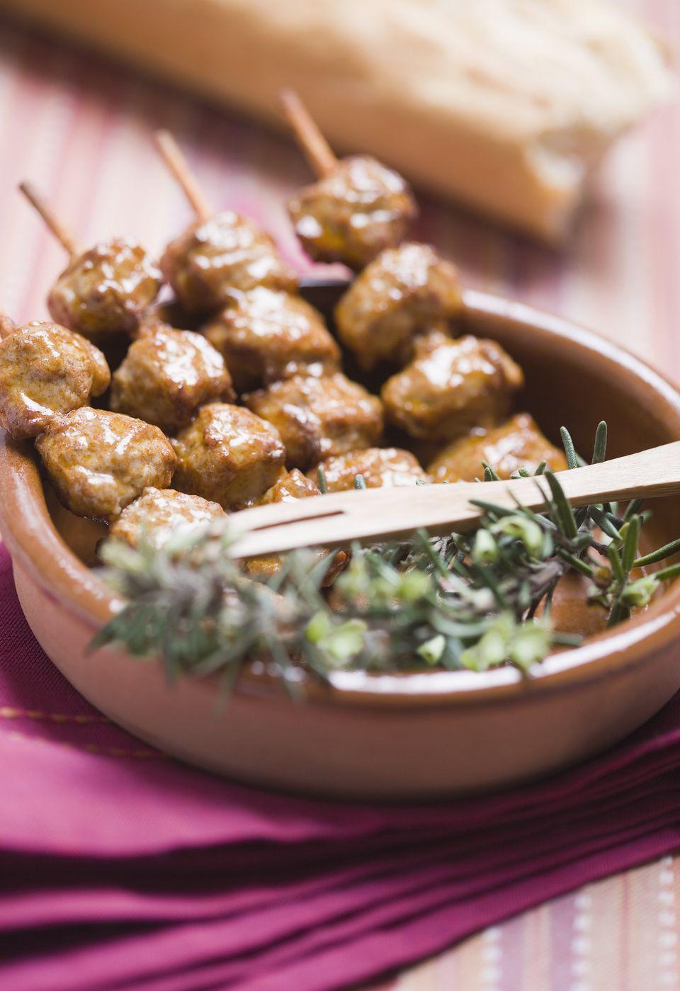 Skewered kebabs of marinated beef