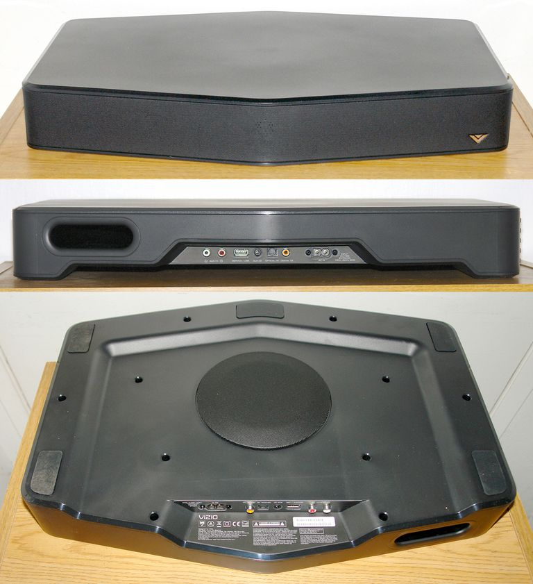 Vizio S2121w-DO Sound Stand - Front, Rear, and Bottom Views
