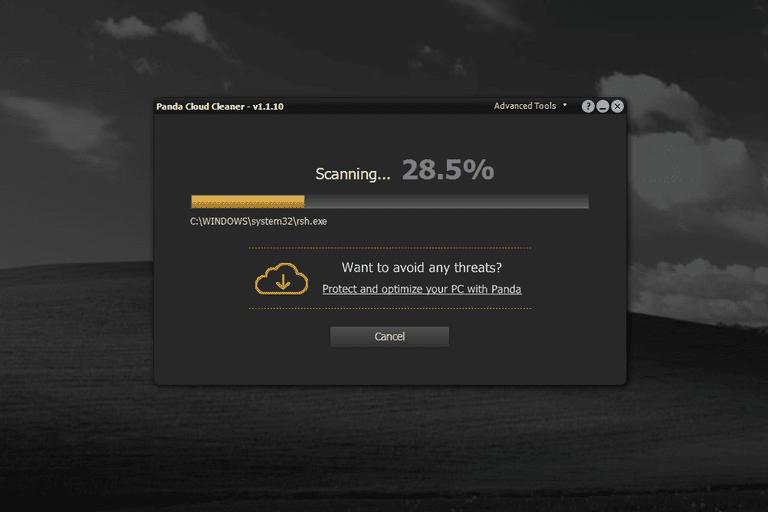 Screenshot of Panda Cloud Cleaner v1.1.10 in Windows XP