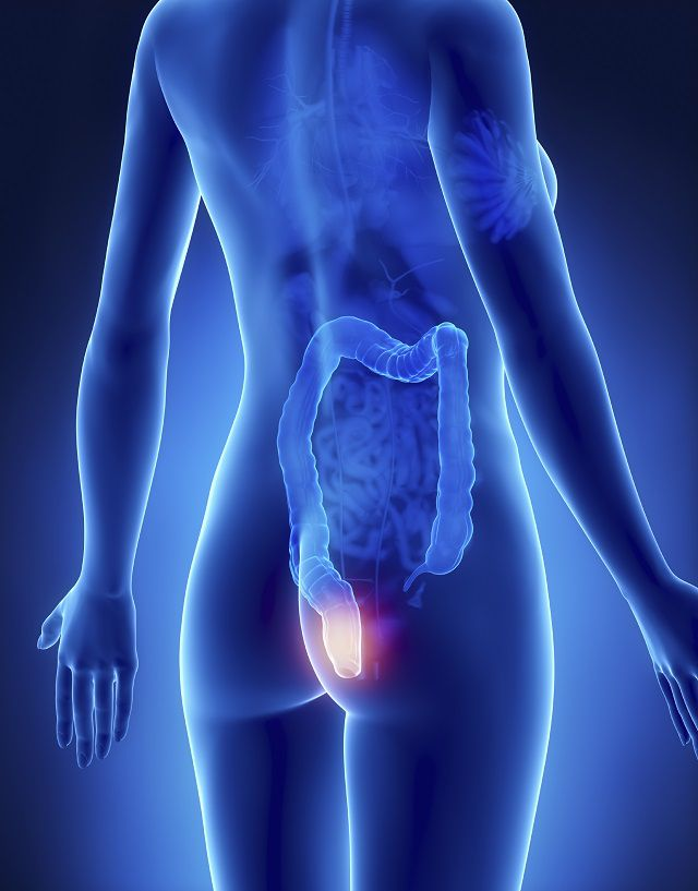 film showing rectum lit up in large intesting suggestive of cancer