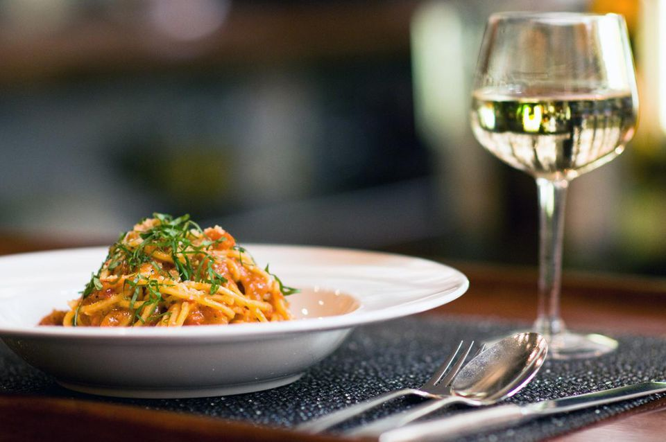 Pasta with a glass of white wine