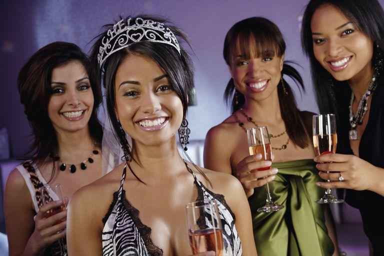 Portrait of multi-ethnic women at bachelorette party