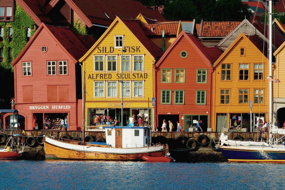 Bryggen waterfront buildings.