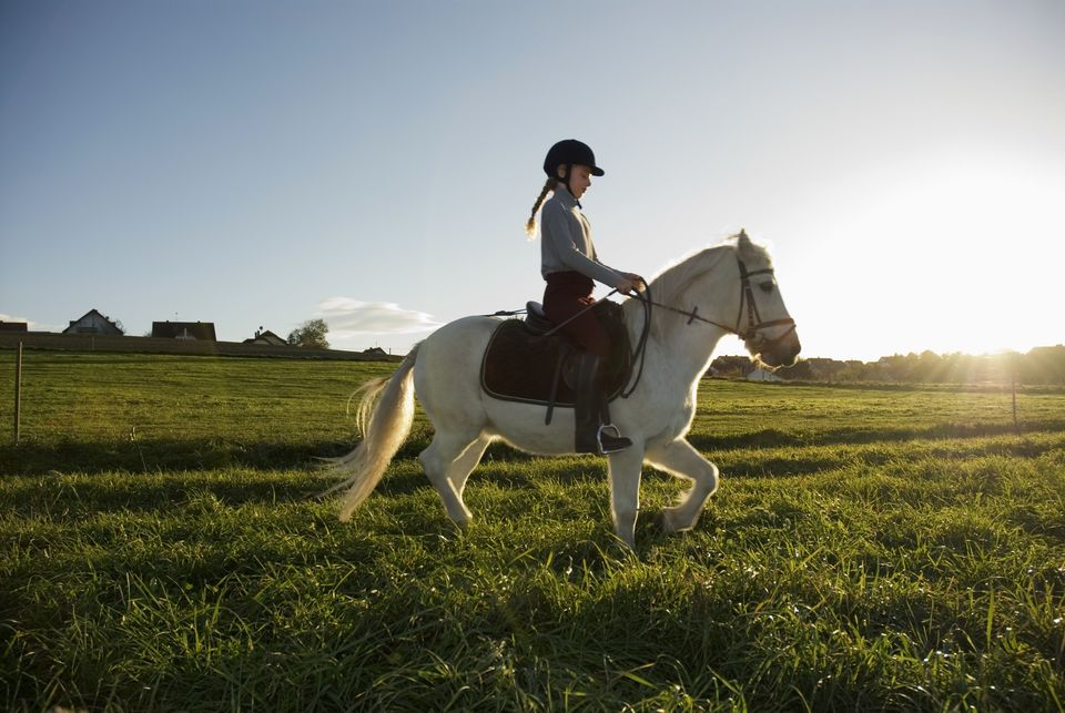 Girl (7-9) riding pony, side view