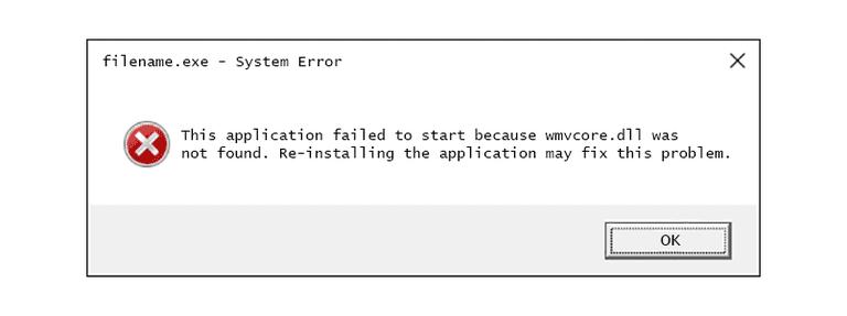 Screenshot of a wmvcore.dll error message in Windows 10