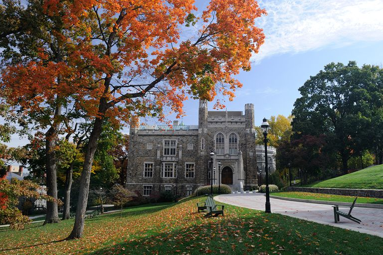 Campus view of Lehigh University in Autumn with Linderman Library in the middle, Bethlehem, Pennsylvania.