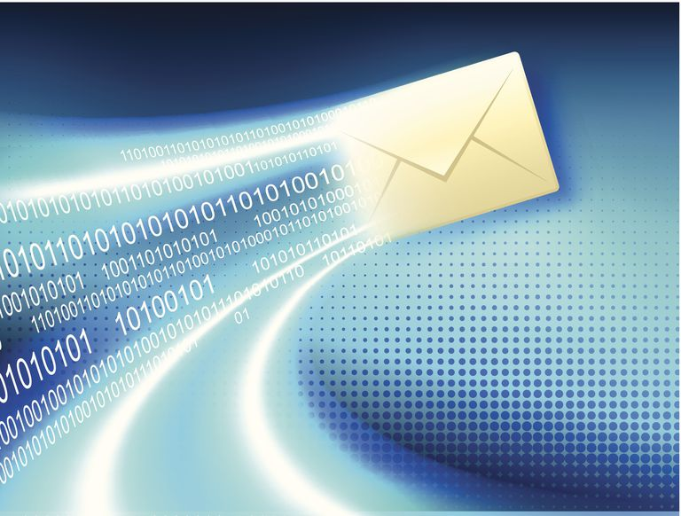 Email on Binary Code Lights Blue Internet Background
