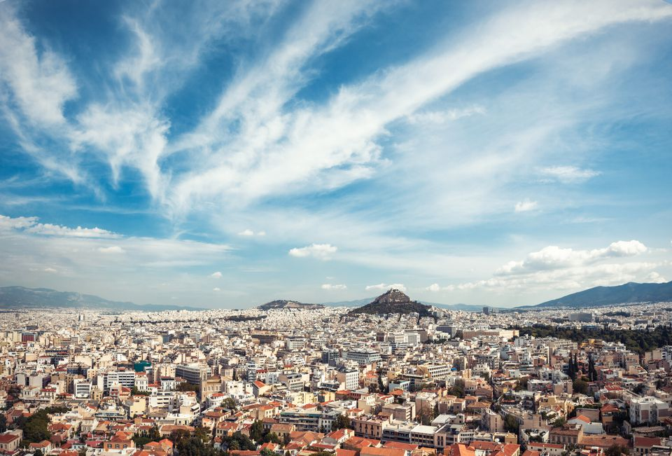 Aerial view of Athens and Mount Lycabettus from Acropolis, Athens, Greece