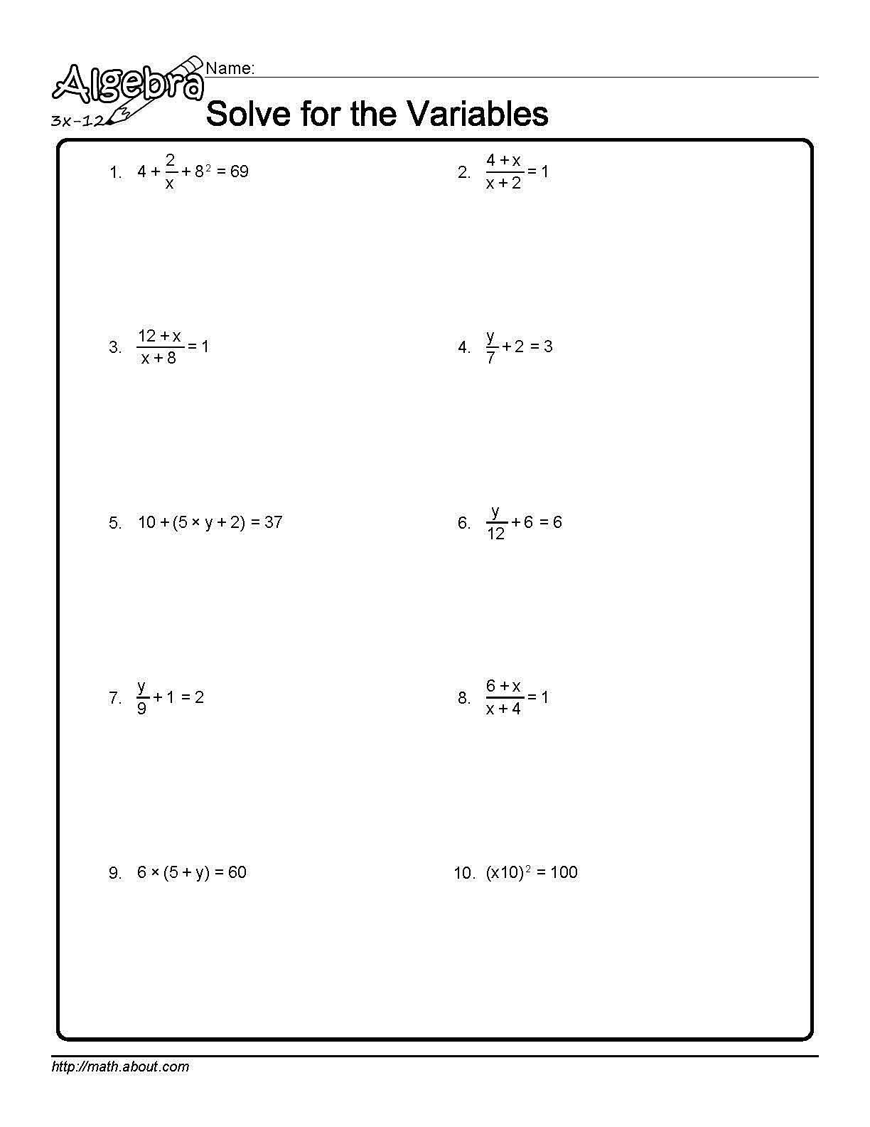 Uncategorized Solve For A Variable Worksheet solve for the variables worksheet 1 of 10