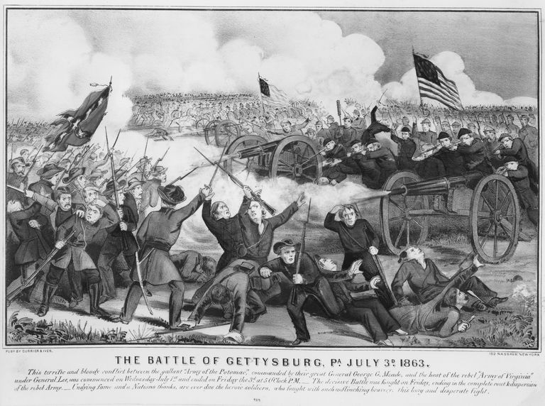 An engraving of the battle of Gettysburg, showing the carnage on the front line in Pennsylvania on 3 July 1863.