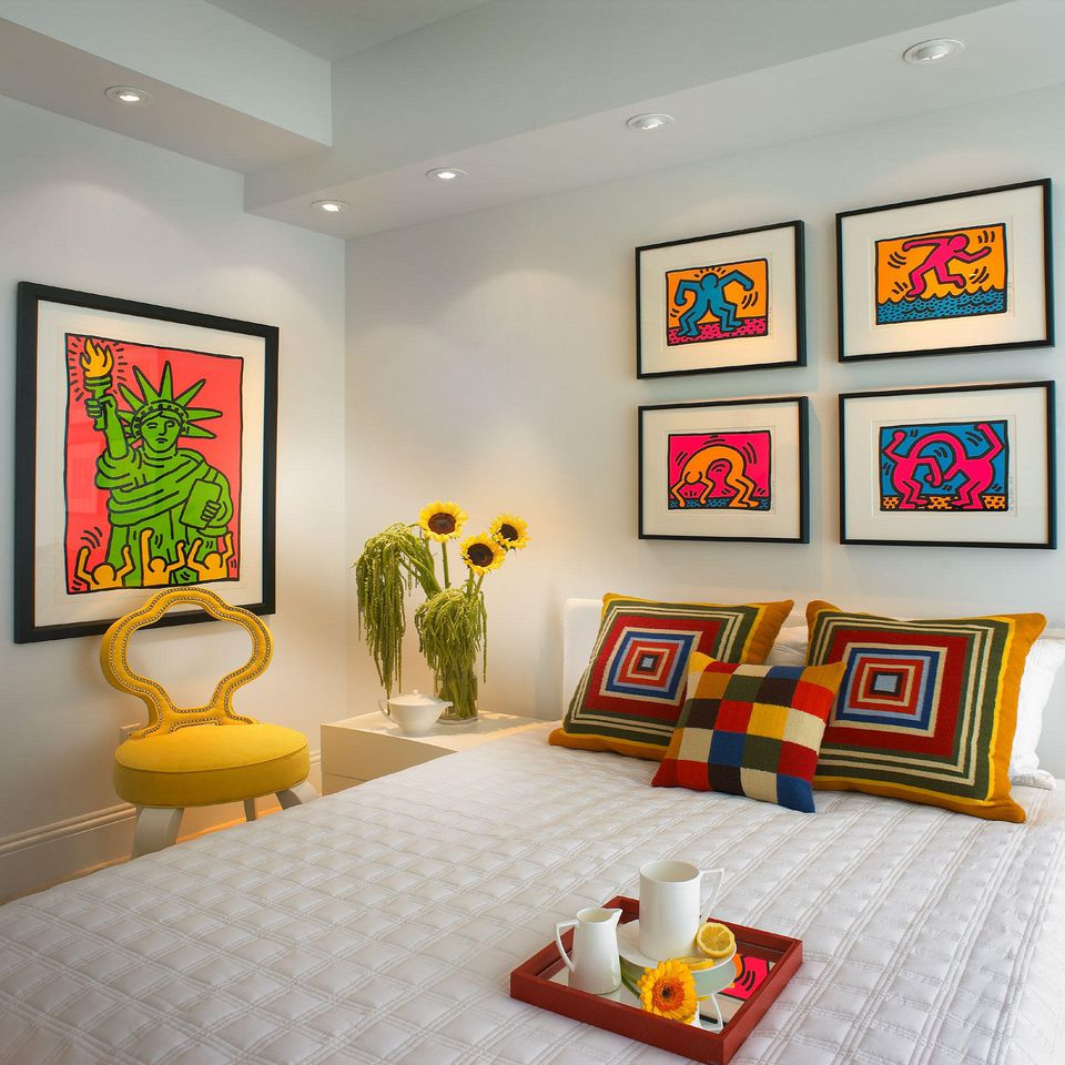 Use bright color as an accent against white walls.